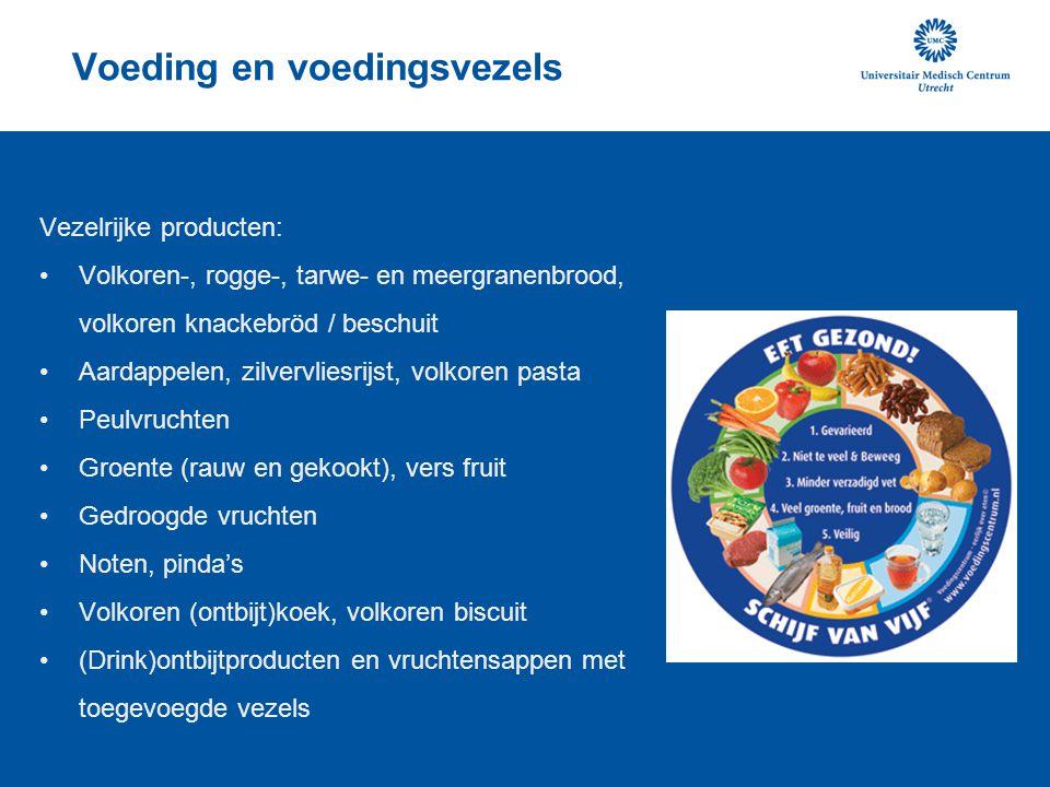 Voeding en voedingsvezels Vezelrijke producten: Volkoren-, rogge-, tarwe- en meergranenbrood, volkoren knackebröd / beschuit Aardappelen, zilvervliesr