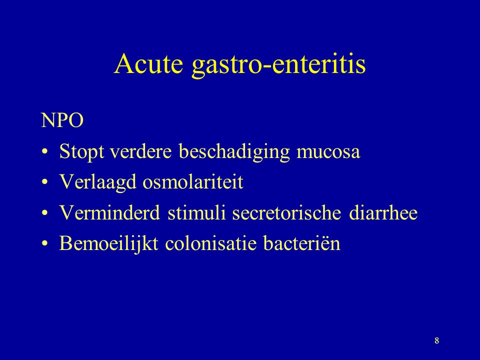 9 Acute gastro enteritis Dieet kenmerken Zeer verteerbaar Vetgehalte: matig: ingewikkeld verterings en absorptie proces Lactose: aantasting microvilli: lactase Eiwit: verhoogde permeabiliteit.