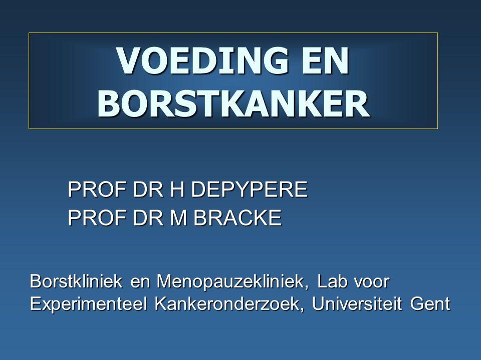 VOEDING EN BORSTKANKER PROF DR H DEPYPERE PROF DR M BRACKE Borstkliniek en Menopauzekliniek, Lab voor Experimenteel Kankeronderzoek, Universiteit Gent