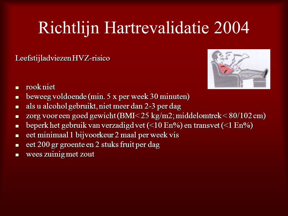 Richtlijn Hartrevalidatie 2004 Leefstijladviezen HVZ-risico rook niet rook niet beweeg voldoende (min. 5 x per week 30 minuten) beweeg voldoende (min.