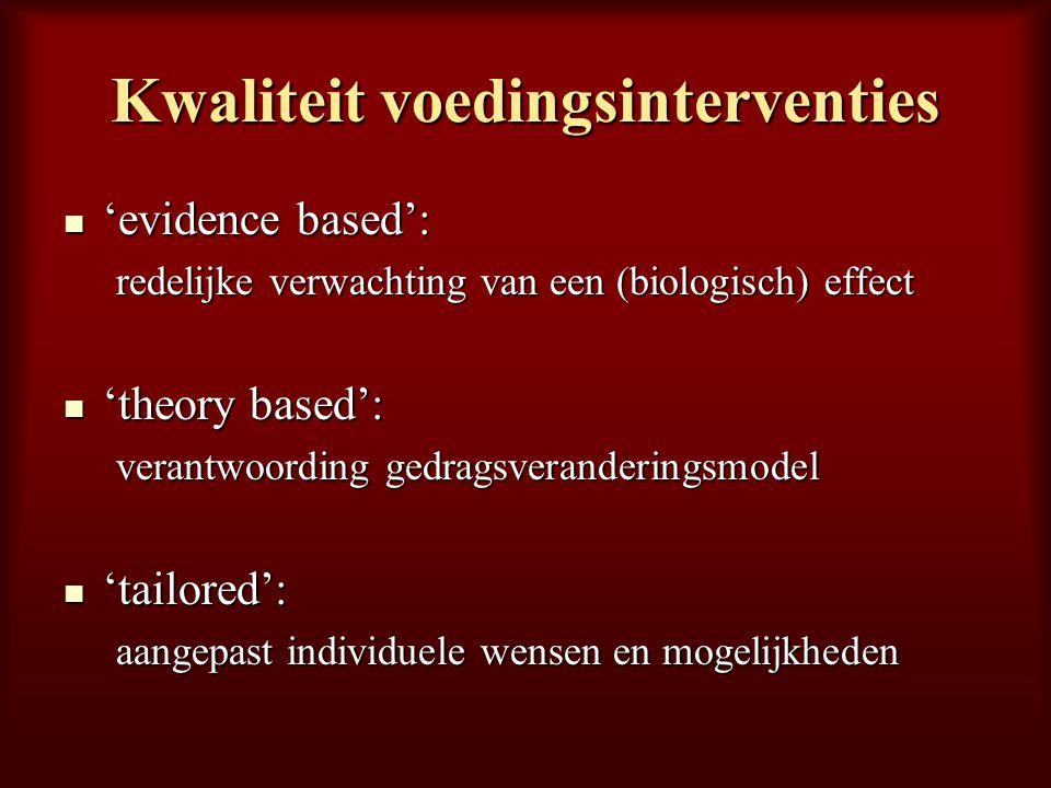 Kwaliteit voedingsinterventies 'evidence based': 'evidence based': redelijke verwachting van een (biologisch) effect 'theory based': 'theory based': v
