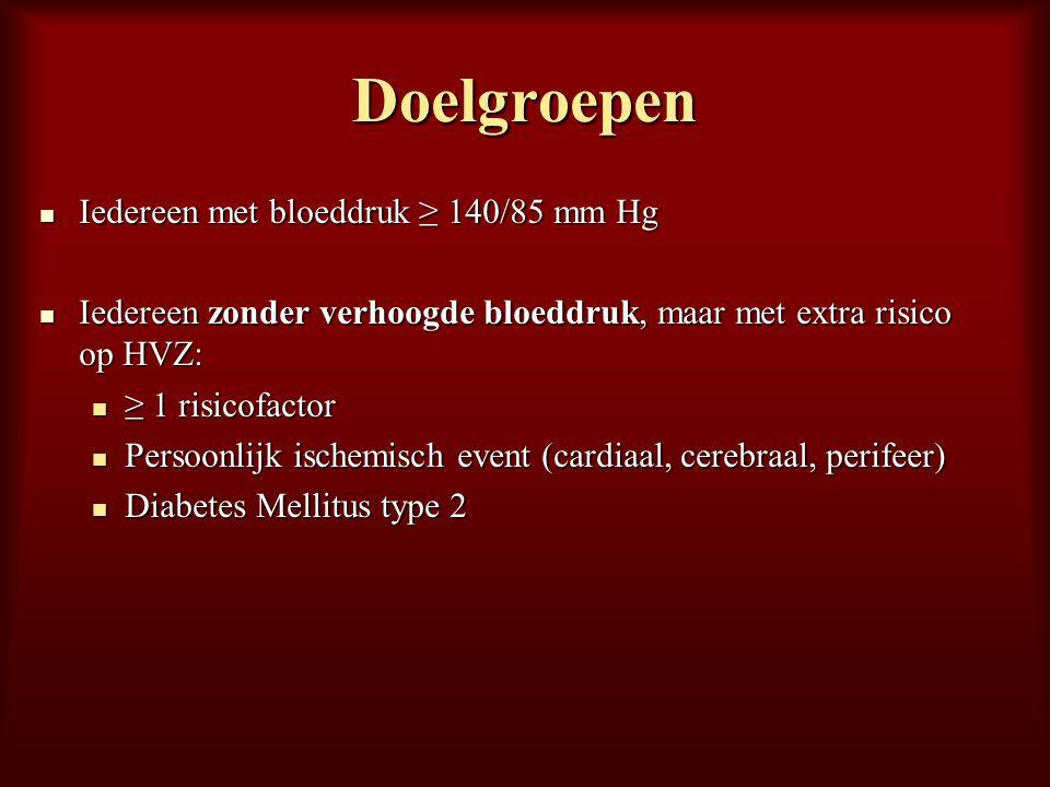 Doelgroepen Iedereen met bloeddruk ≥ 140/85 mm Hg Iedereen met bloeddruk ≥ 140/85 mm Hg Iedereen zonder verhoogde bloeddruk, maar met extra risico op
