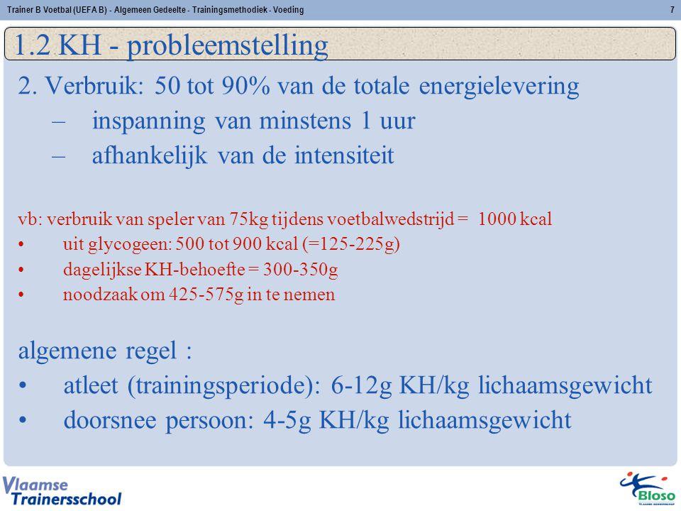 Trainer B Voetbal (UEFA B) - Algemeen Gedeelte - Trainingsmethodiek - Voeding8 1.2 KH - probleemstelling 3.