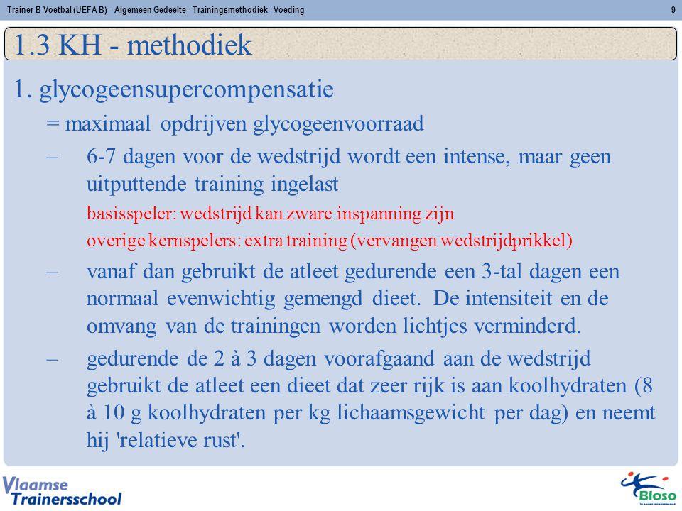 Trainer B Voetbal (UEFA B) - Algemeen Gedeelte - Trainingsmethodiek - Voeding10 1.3 KH - methodiek 2.