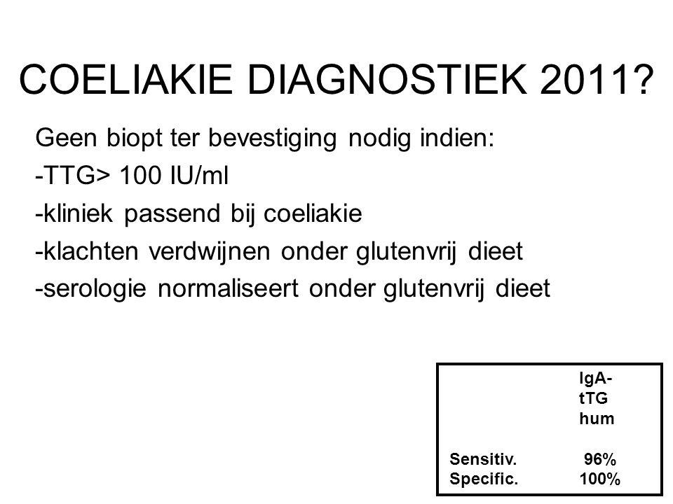 COELIAKIE DIAGNOSTIEK 2011? Geen biopt ter bevestiging nodig indien: -TTG> 100 IU/ml -kliniek passend bij coeliakie -klachten verdwijnen onder glutenv