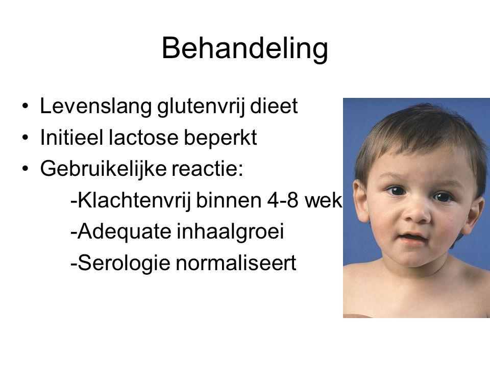 Behandeling Levenslang glutenvrij dieet Initieel lactose beperkt Gebruikelijke reactie: -Klachtenvrij binnen 4-8 weken -Adequate inhaalgroei -Serologi