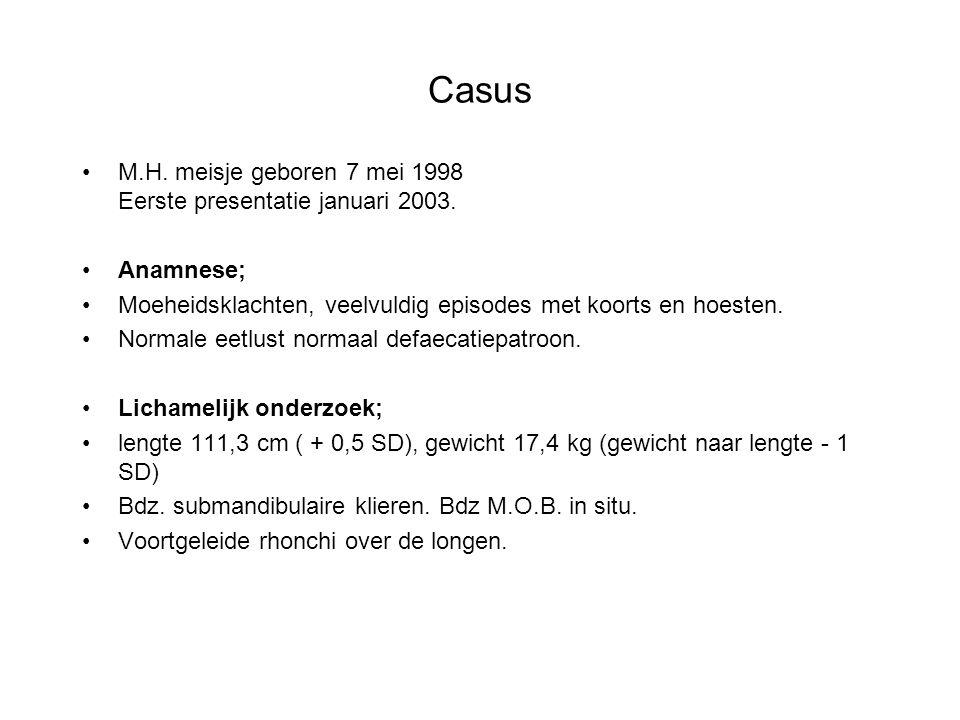 Casus M.H. meisje geboren 7 mei 1998 Eerste presentatie januari 2003. Anamnese; Moeheidsklachten, veelvuldig episodes met koorts en hoesten. Normale e