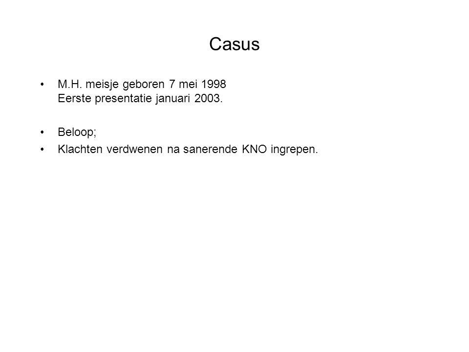 Casus M.H. meisje geboren 7 mei 1998 Eerste presentatie januari 2003. Beloop; Klachten verdwenen na sanerende KNO ingrepen.