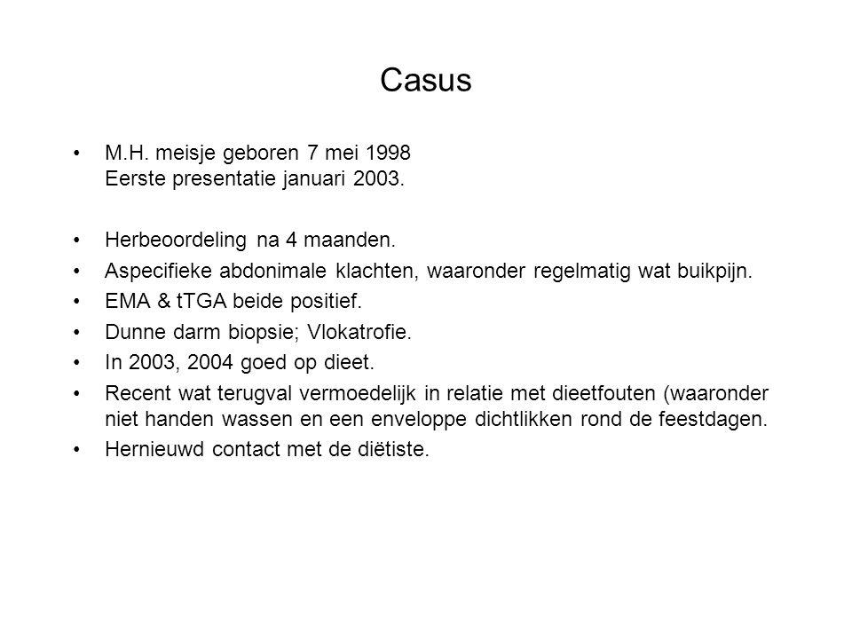 Casus M.H. meisje geboren 7 mei 1998 Eerste presentatie januari 2003. Herbeoordeling na 4 maanden. Aspecifieke abdonimale klachten, waaronder regelmat