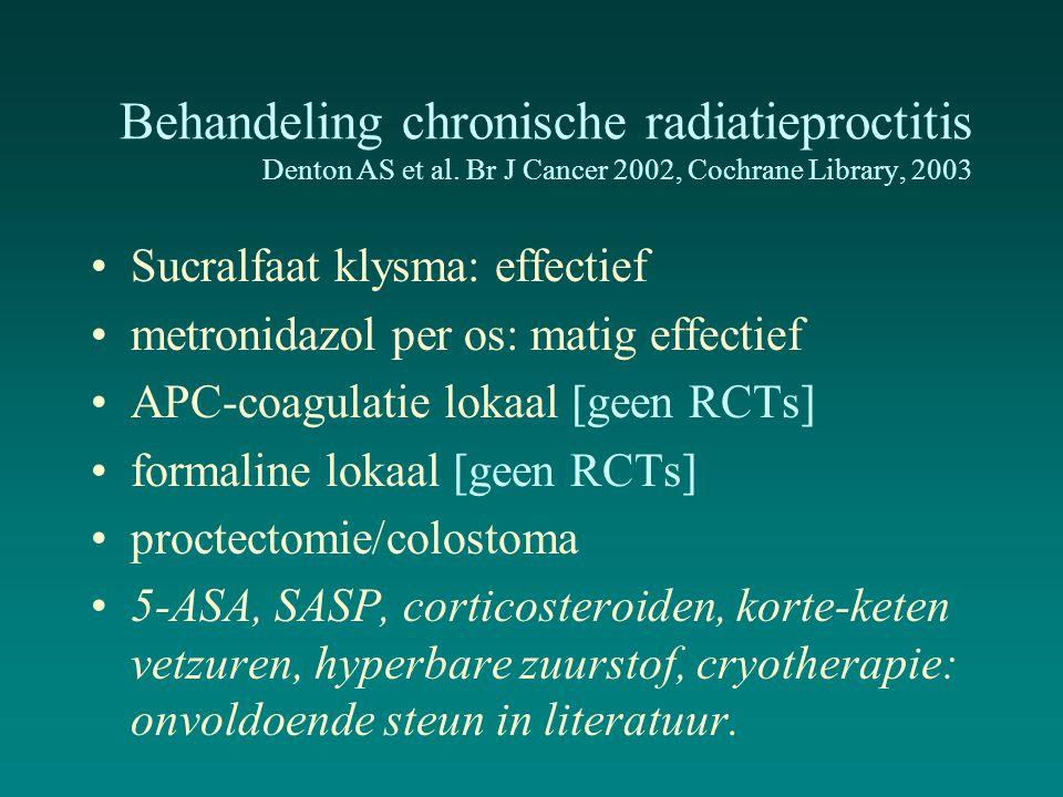 Behandeling chronische radiatieproctitis Denton AS et al. Br J Cancer 2002, Cochrane Library, 2003 Sucralfaat klysma: effectief metronidazol per os: m