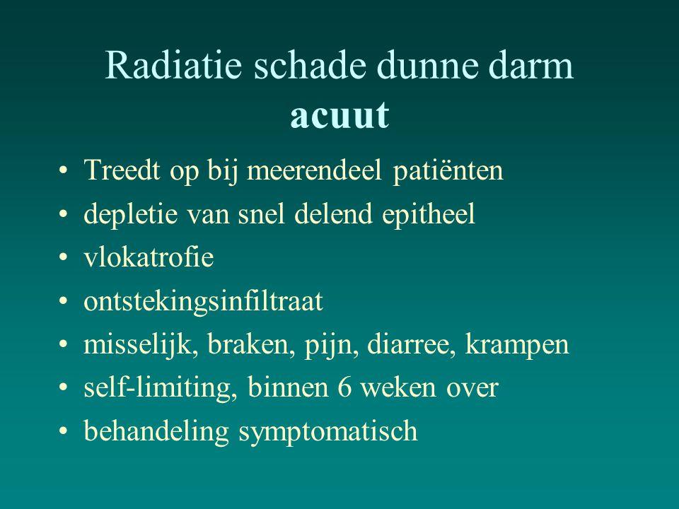 Radiatie schade dunne darm acuut Treedt op bij meerendeel patiënten depletie van snel delend epitheel vlokatrofie ontstekingsinfiltraat misselijk, bra