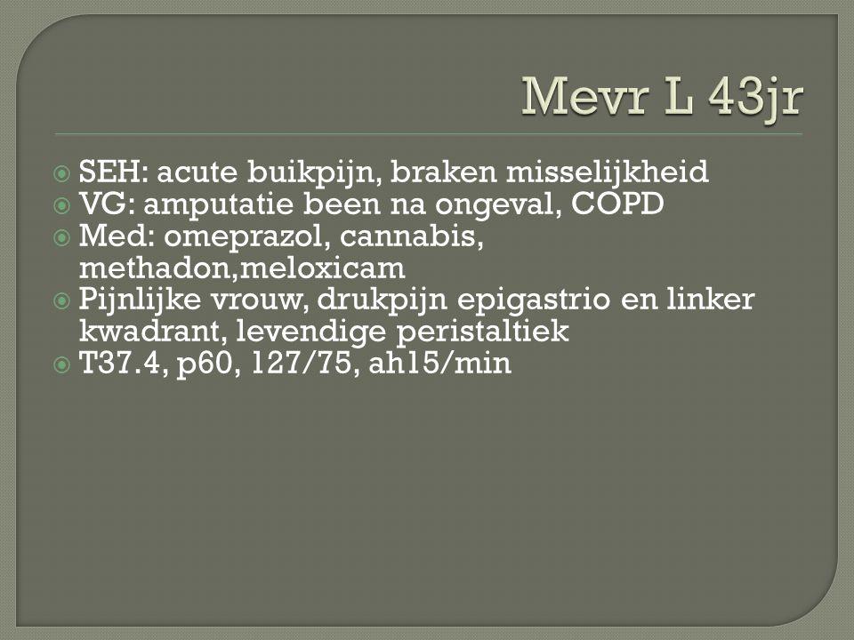  SEH: acute buikpijn, braken misselijkheid  VG: amputatie been na ongeval, COPD  Med: omeprazol, cannabis, methadon,meloxicam  Pijnlijke vrouw, dr