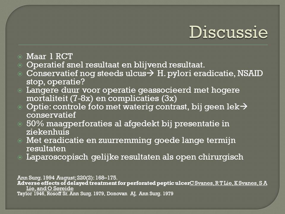  Maar 1 RCT  Operatief snel resultaat en blijvend resultaat.  Conservatief nog steeds ulcus  H. pylori eradicatie, NSAID stop, operatie?  Langere
