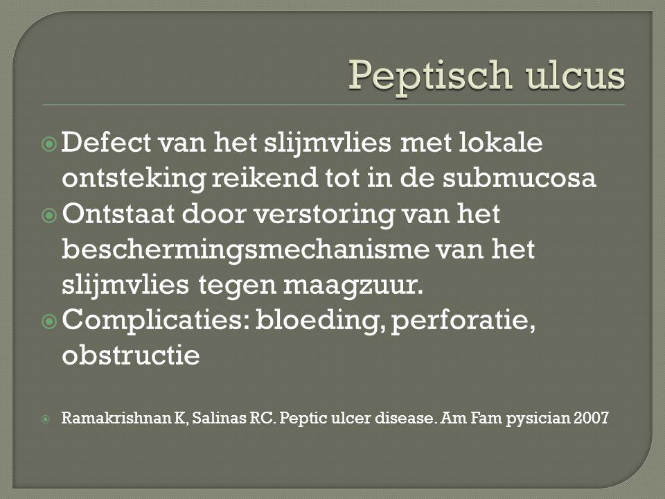 Defect van het slijmvlies met lokale ontsteking reikend tot in de submucosa  Ontstaat door verstoring van het beschermingsmechanisme van het slijmv
