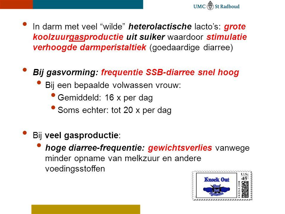 """In darm met veel """"wilde"""" heterolactische lacto's: grote koolzuurgasproductie uit suiker waardoor stimulatie verhoogde darmperistaltiek (goedaardige di"""
