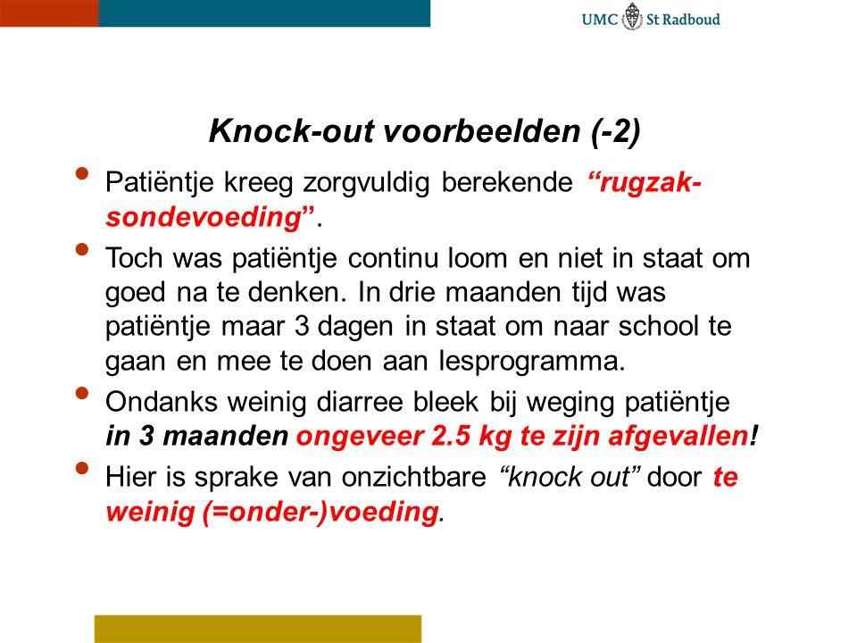 """Knock-out voorbeelden (-2) Patiëntje kreeg zorgvuldig berekende """"rugzak- sondevoeding"""". Toch was patiëntje continu loom en niet in staat om goed na te"""