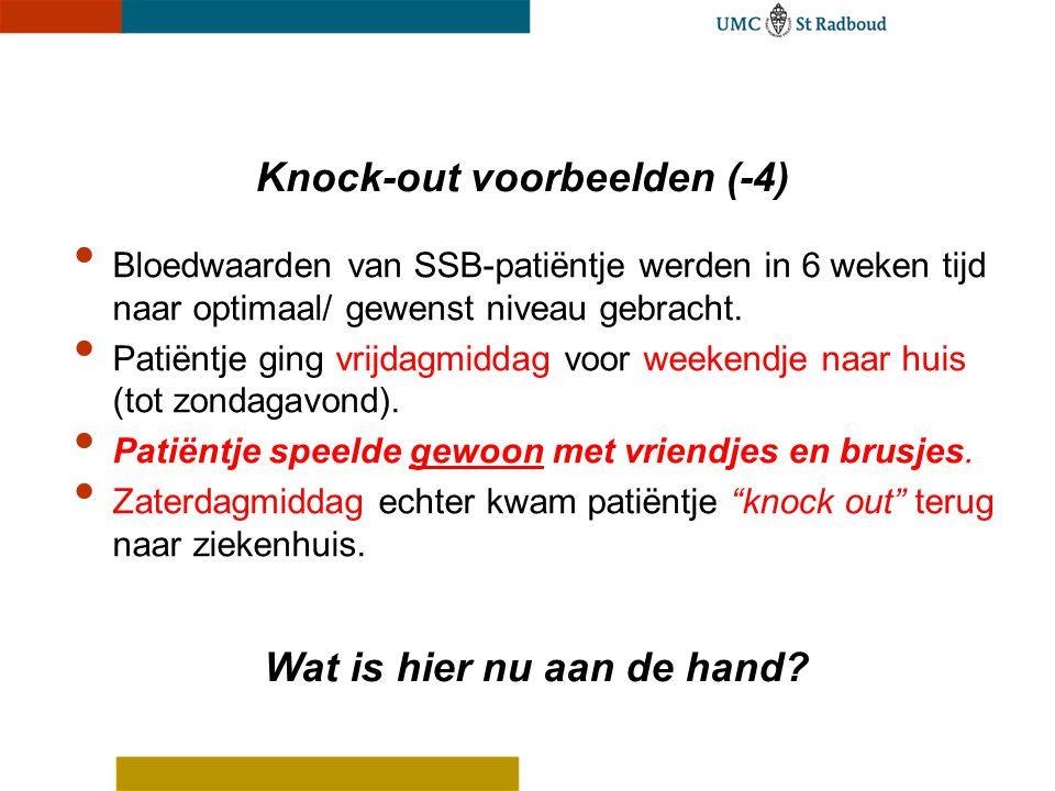 Knock-out voorbeelden (-4) Bloedwaarden van SSB-patiëntje werden in 6 weken tijd naar optimaal/ gewenst niveau gebracht. Patiëntje ging vrijdagmiddag