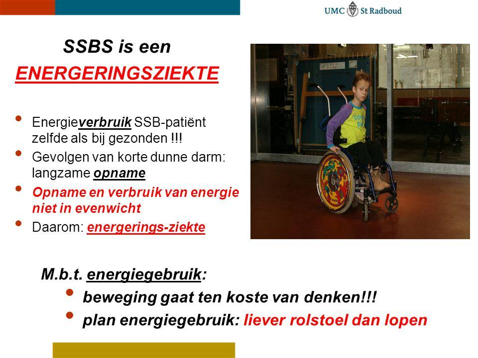Energieverbruik SSB-patiënt zelfde als bij gezonden !!! Gevolgen van korte dunne darm: langzame opname Opname en verbruik van energie niet in evenwich