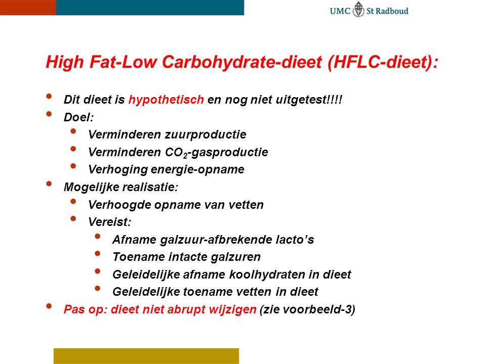 High Fat-Low Carbohydrate-dieet (HFLC-dieet): Dit dieet is hypothetisch en nog niet uitgetest!!!! Doel: Verminderen zuurproductie Verminderen CO 2 -ga