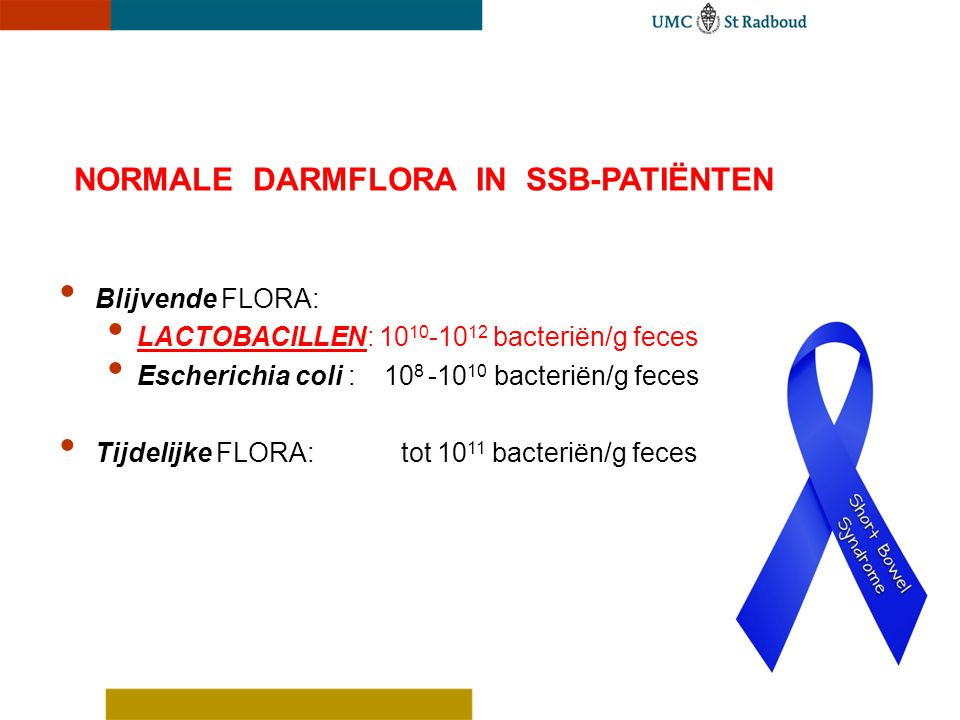 Blijvende FLORA: LACTOBACILLEN: 10 10 -10 12 bacteriën/g feces Escherichia coli : 10 8 -10 10 bacteriën/g feces Tijdelijke FLORA: tot 10 11 bacteriën/
