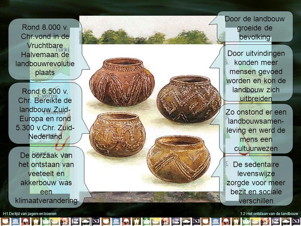H1 De tijd van jagers en boeren1.2 Het ontstaan van de landbouw Rond 8.000 v. Chr.vond in de Vruchtbare Halvemaan de landbouwrevolutie plaats Rond 6.5