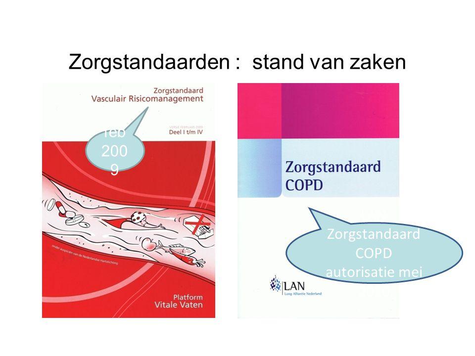 Zorgstandaarden : stand van zaken feb 200 9 LAN Zorgstandaard COPD autorisatie mei 2010
