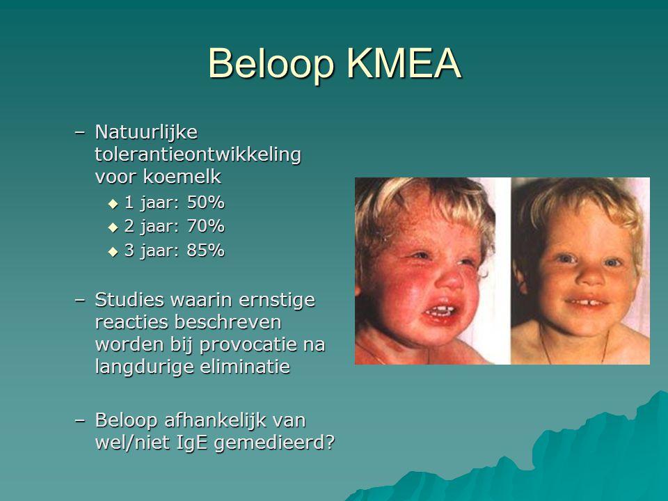 Beloop KMEA –Natuurlijke tolerantieontwikkeling voor koemelk  1 jaar: 50%  2 jaar: 70%  3 jaar: 85% –Studies waarin ernstige reacties beschreven worden bij provocatie na langdurige eliminatie –Beloop afhankelijk van wel/niet IgE gemedieerd?