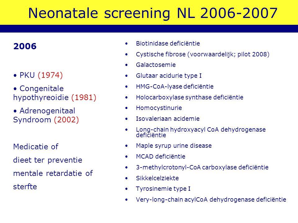 Neonatale screening NL 2006-2007 Biotinidase deficiëntie Cystische fibrose (voorwaardelijk; pilot 2008) Galactosemie Glutaar acidurie type I HMG-CoA-l