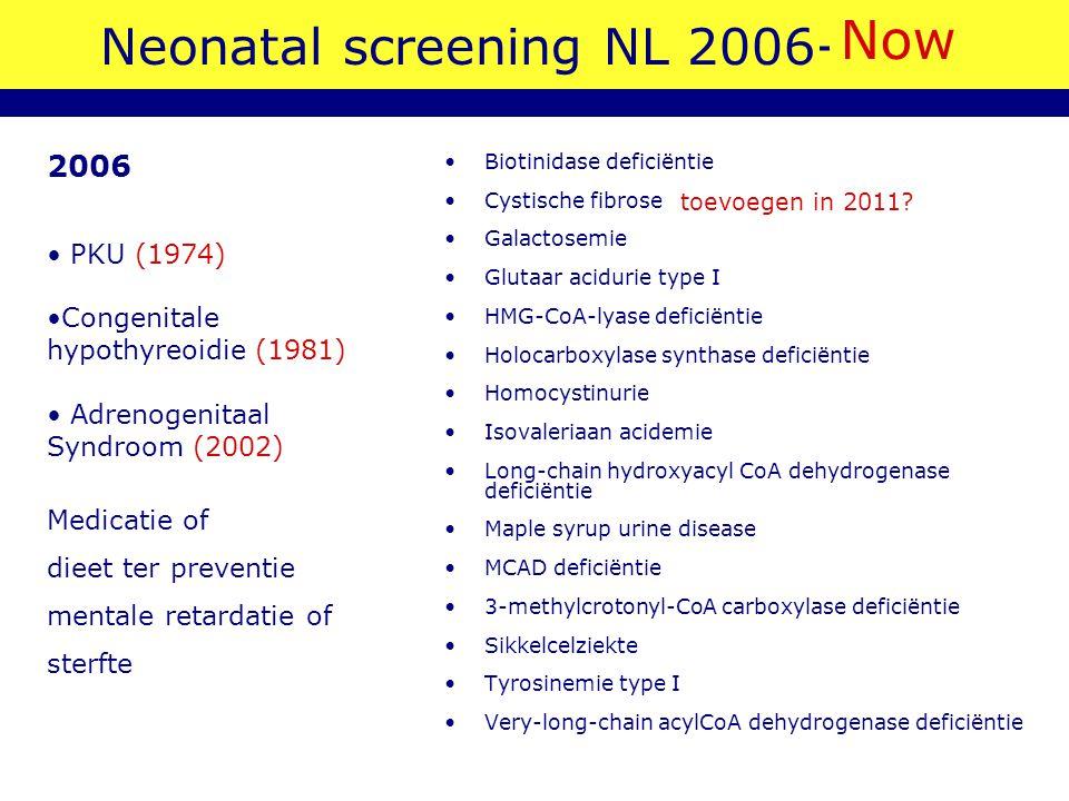 Neonatal screening NL 2006-2007 Biotinidase deficiëntie Cystische fibrose (voorwaardelijk; pilot 2008) Galactosemie Glutaar acidurie type I HMG-CoA-ly
