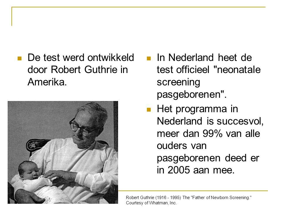 De test werd ontwikkeld door Robert Guthrie in Amerika. In Nederland heet de test officieel