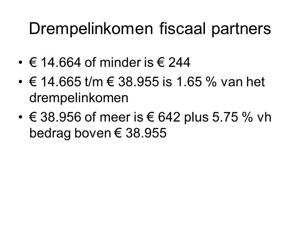 Drempelinkomen fiscaal partners € 14.664 of minder is € 244 € 14.665 t/m € 38.955 is 1.65 % van het drempelinkomen € 38.956 of meer is € 642 plus 5.75
