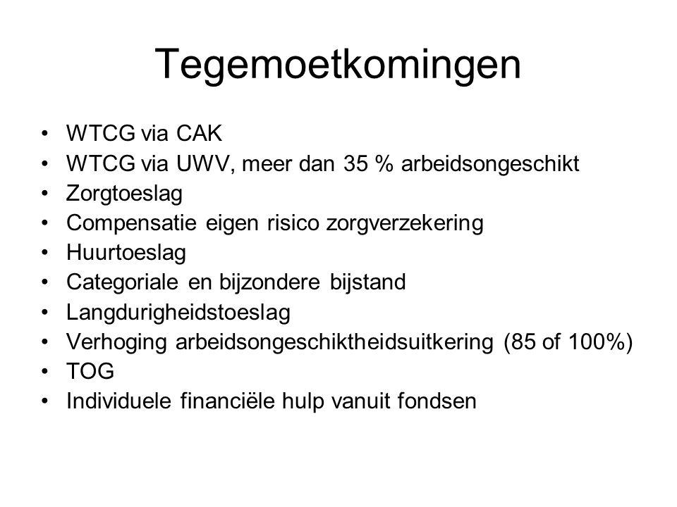 Tegemoetkomingen WTCG via CAK WTCG via UWV, meer dan 35 % arbeidsongeschikt Zorgtoeslag Compensatie eigen risico zorgverzekering Huurtoeslag Categoria