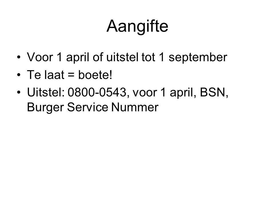 Aangifte Voor 1 april of uitstel tot 1 september Te laat = boete! Uitstel: 0800-0543, voor 1 april, BSN, Burger Service Nummer