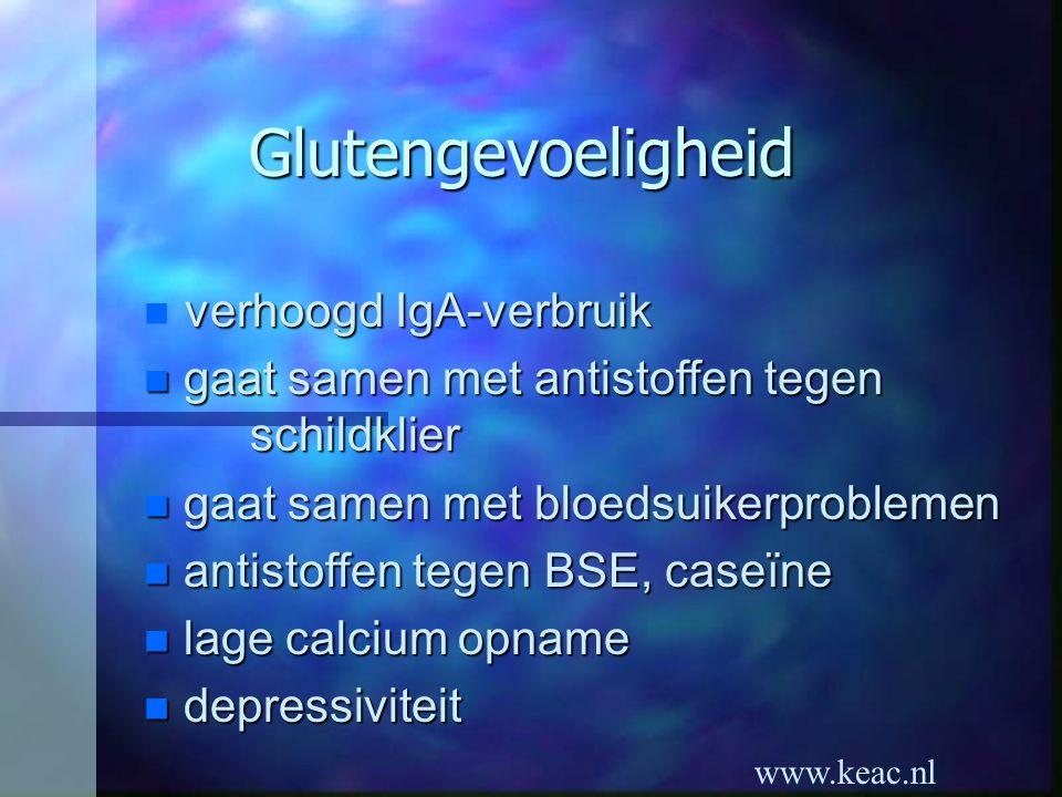 www.keac.nl Glutengevoeligheid verhoogd IgA-verbruik n gaat samen met antistoffen tegen schildklier n gaat samen met bloedsuikerproblemen n antistoffe