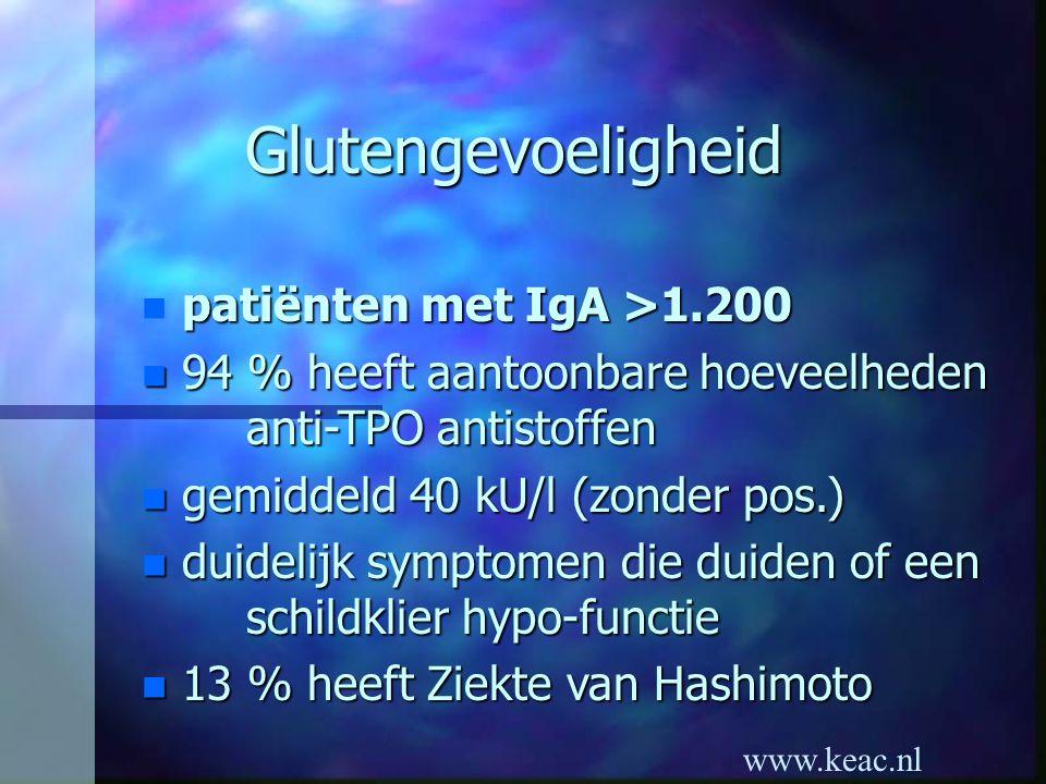 www.keac.nl Glutengevoeligheid patiënten met IgA >1.200 n patiënten met IgA >1.200 n 94 % heeft aantoonbare hoeveelheden anti-TPO antistoffen n gemidd