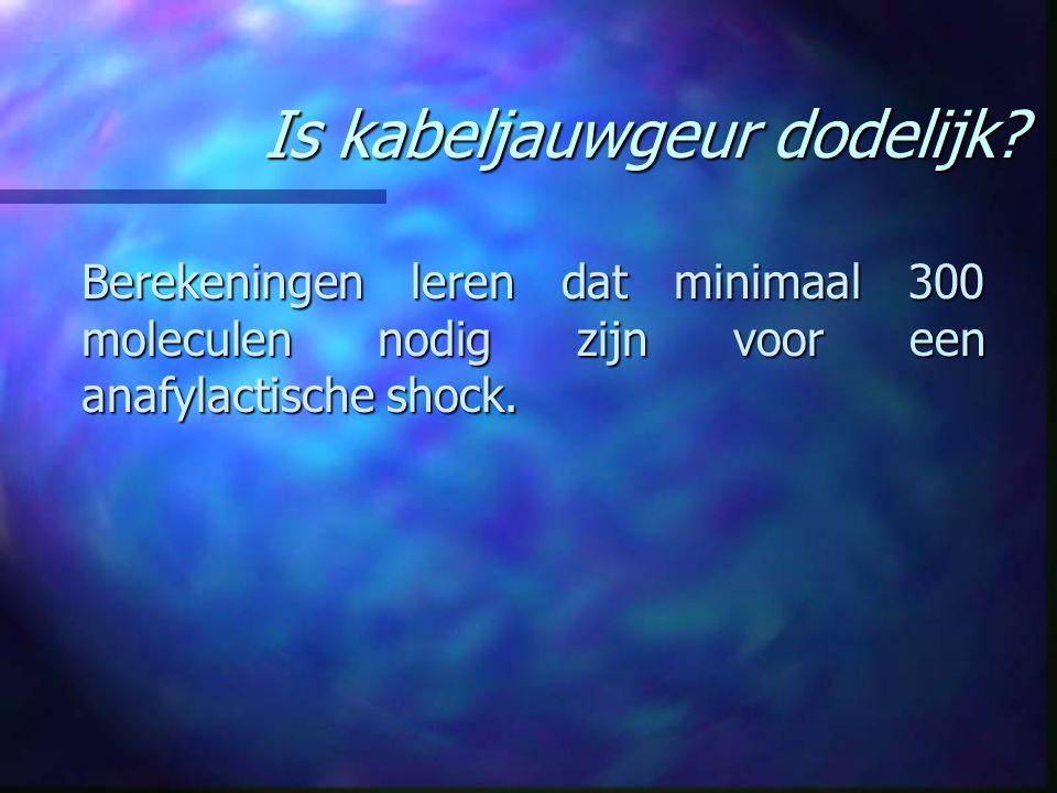 Is kabeljauwgeur dodelijk? Berekeningen leren dat minimaal 300 moleculen nodig zijn voor een anafylactische shock.