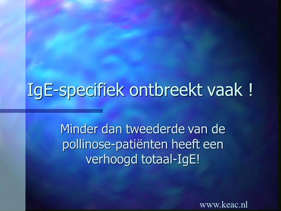 www.keac.nl IgE-specifiek ontbreekt vaak ! Minder dan tweederde van de pollinose-patiënten heeft een verhoogd totaal-IgE!