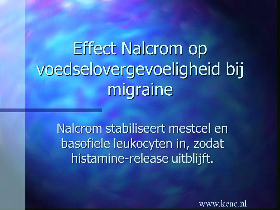 www.keac.nl Effect Nalcrom op voedselovergevoeligheid bij migraine Nalcrom stabiliseert mestcel en basofiele leukocyten in, zodat histamine-release ui