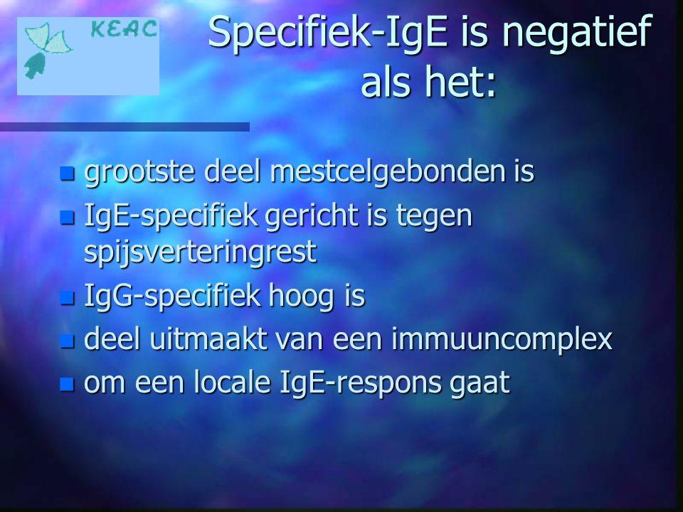 Specifiek-IgE is negatief als het: n grootste deel mestcelgebonden is n IgE-specifiek gericht is tegen spijsverteringrest n IgG-specifiek hoog is n de