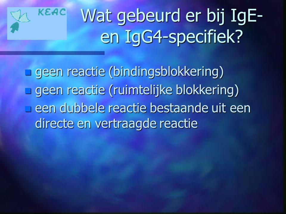 Wat gebeurd er bij IgE- en IgG4-specifiek? n geen reactie (bindingsblokkering) n geen reactie (ruimtelijke blokkering) n een dubbele reactie bestaande