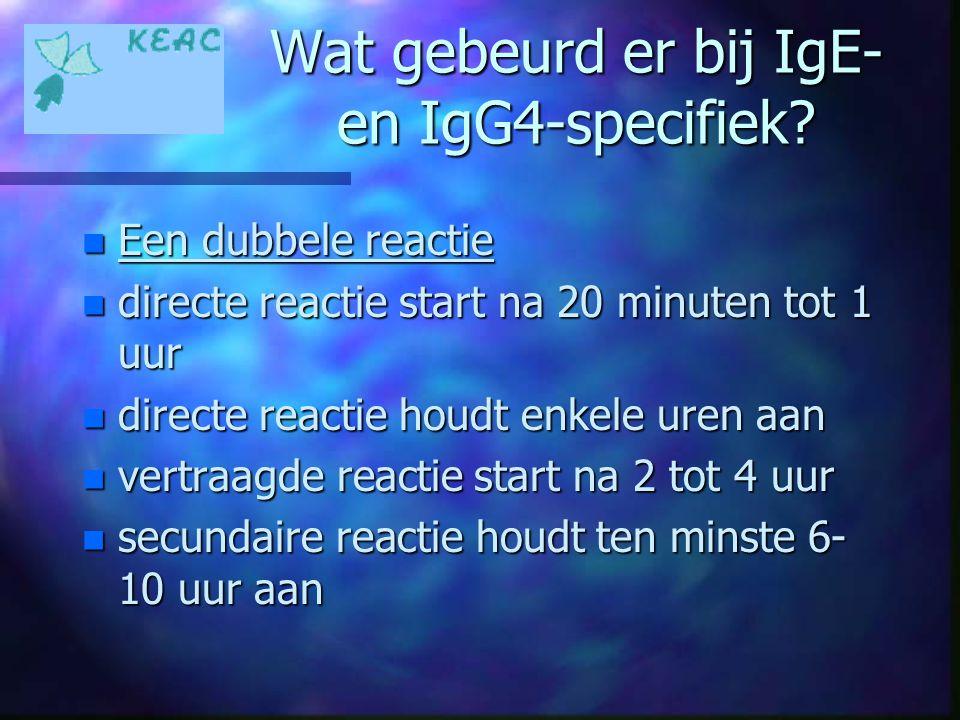 Wat gebeurd er bij IgE- en IgG4-specifiek? n Een dubbele reactie n directe reactie start na 20 minuten tot 1 uur n directe reactie houdt enkele uren a
