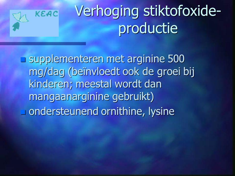 Verhoging stiktofoxide- productie n supplementeren met arginine 500 mg/dag (beïnvloedt ook de groei bij kinderen; meestal wordt dan mangaanarginine ge