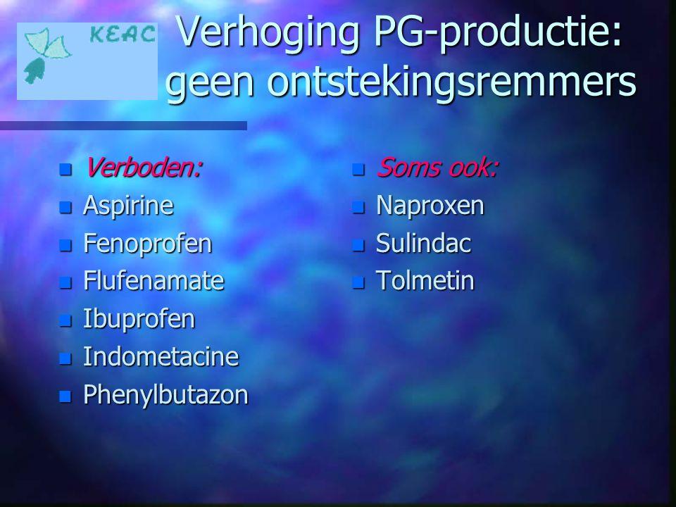 Verhoging PG-productie: geen ontstekingsremmers n Verboden: n Aspirine n Fenoprofen n Flufenamate n Ibuprofen n Indometacine n Phenylbutazon n Soms oo