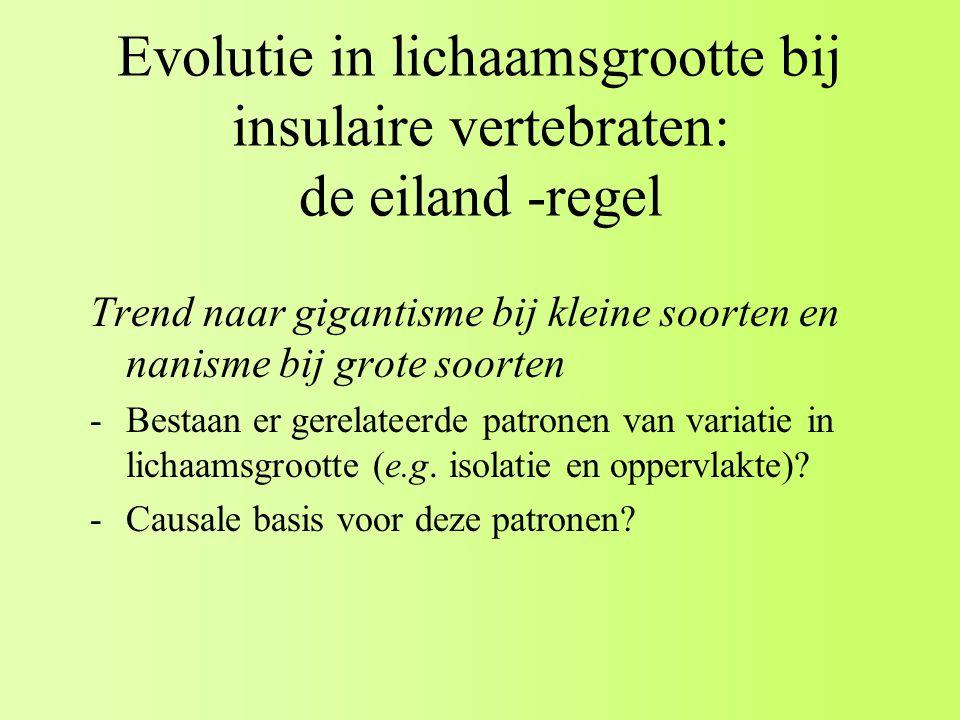 Evolutie in lichaamsgrootte bij insulaire vertebraten: de eiland -regel Trend naar gigantisme bij kleine soorten en nanisme bij grote soorten -Bestaan er gerelateerde patronen van variatie in lichaamsgrootte (e.g.