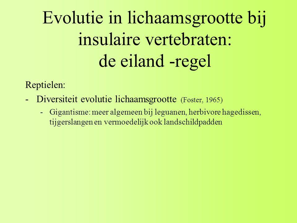 Evolutie in lichaamsgrootte bij insulaire vertebraten: de eiland -regel Reptielen: -Diversiteit evolutie lichaamsgrootte (Foster, 1965) -Gigantisme: meer algemeen bij leguanen, herbivore hagedissen, tijgerslangen en vermoedelijk ook landschildpadden