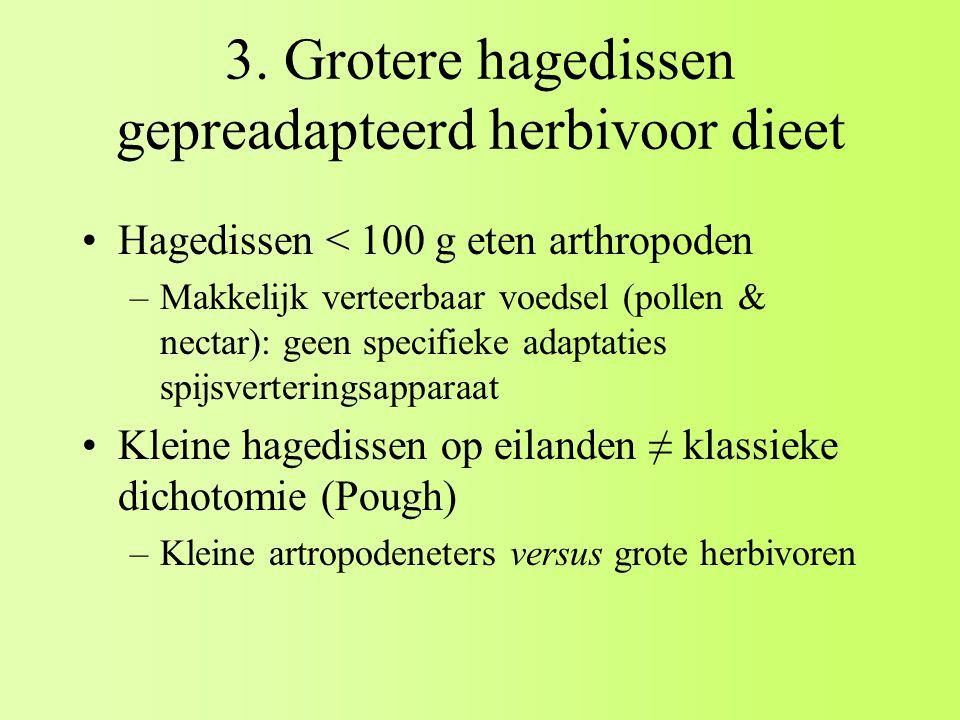 3. Grotere hagedissen gepreadapteerd herbivoor dieet Hagedissen < 100 g eten arthropoden –Makkelijk verteerbaar voedsel (pollen & nectar): geen specif