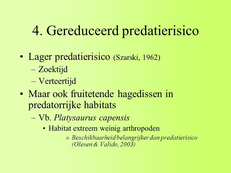 4. Gereduceerd predatierisico Lager predatierisico (Szarski, 1962) –Zoektijd –Verteertijd Maar ook fruitetende hagedissen in predatorrijke habitats –V