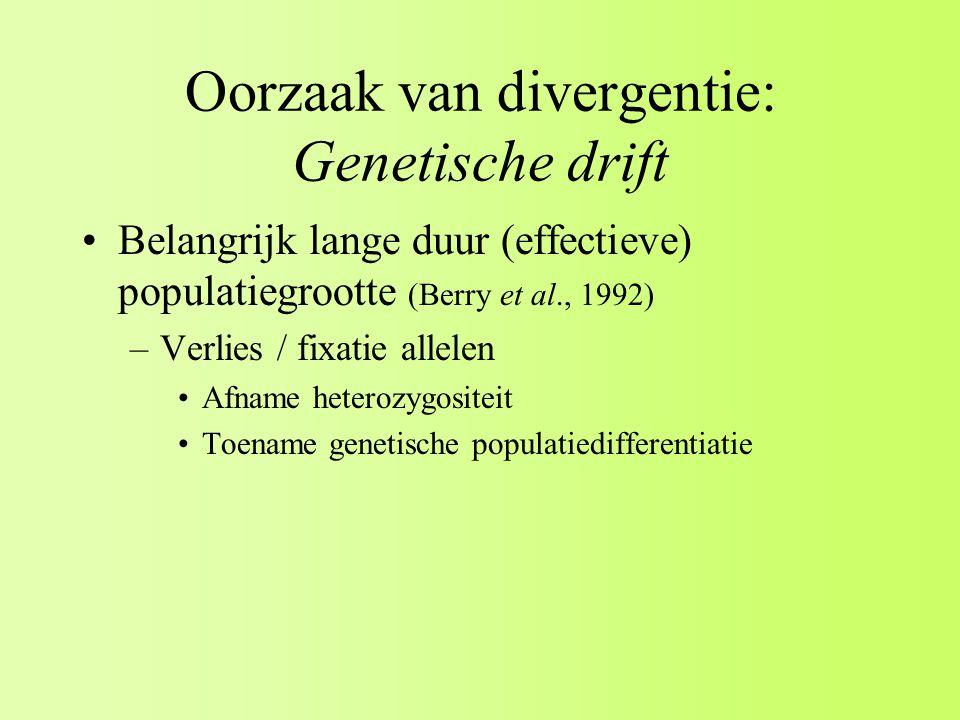 Oorzaak van divergentie: Genetische drift Belangrijk lange duur (effectieve) populatiegrootte (Berry et al., 1992) –Verlies / fixatie allelen Afname heterozygositeit Toename genetische populatiedifferentiatie