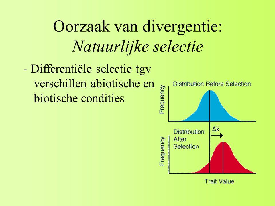 Oorzaak van divergentie: Natuurlijke selectie - Differentiële selectie tgv verschillen abiotische en biotische condities
