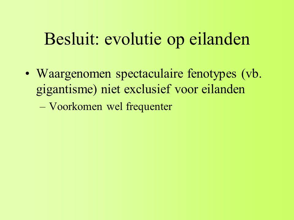 Besluit: evolutie op eilanden Waargenomen spectaculaire fenotypes (vb.
